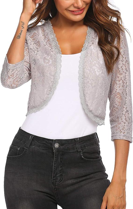 Women/'s Short Sleeve Lace Bolero Shrugs Crochet Open Cardigan Sheer Crop Jacket