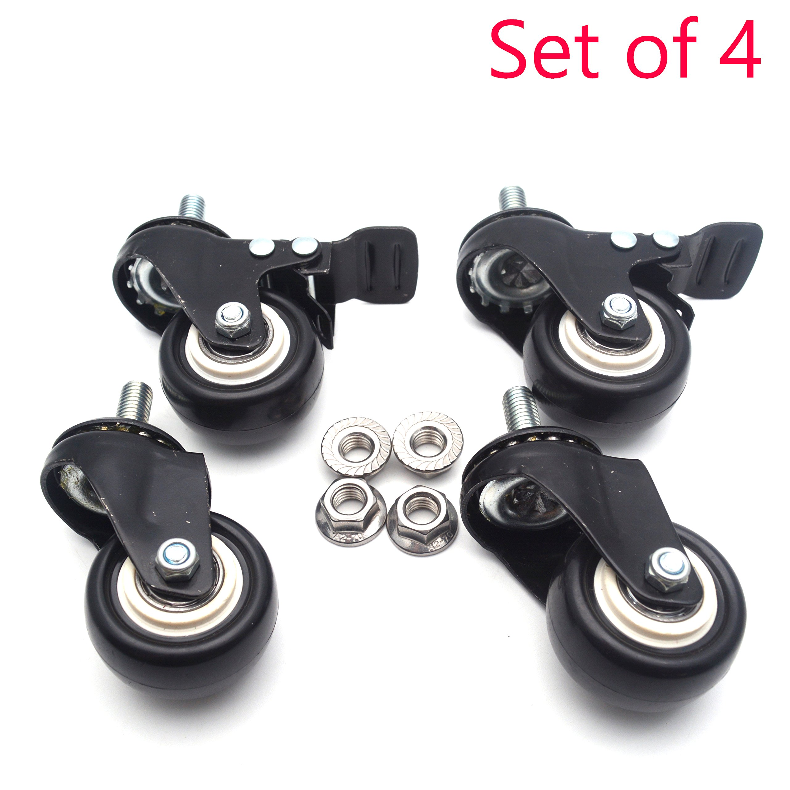 Sydien 2'' Dia. No Noise Stem Casters, 2 Brake Caster Wheels plus 2 Swivel Caster Wheels without Brake - with 25mm/1'' Threaded Stem and Nuts for Carts Trolley Furniture