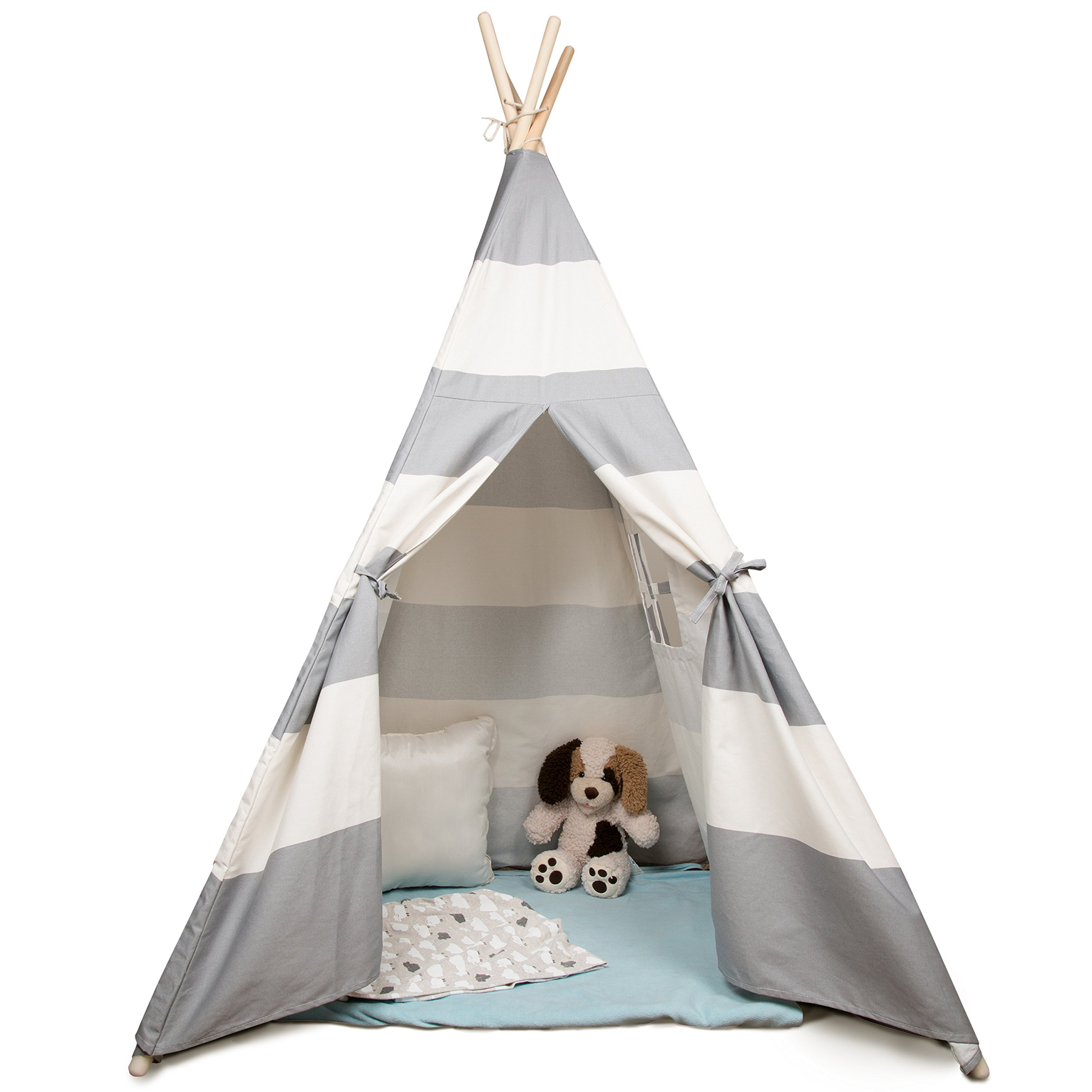 Svan Kid's Canvas Teepee Tent - Made w Cotton with Pine Wood Frame (White/Grey Stripes) - 5 ft Tall - Collapsible for easy storage