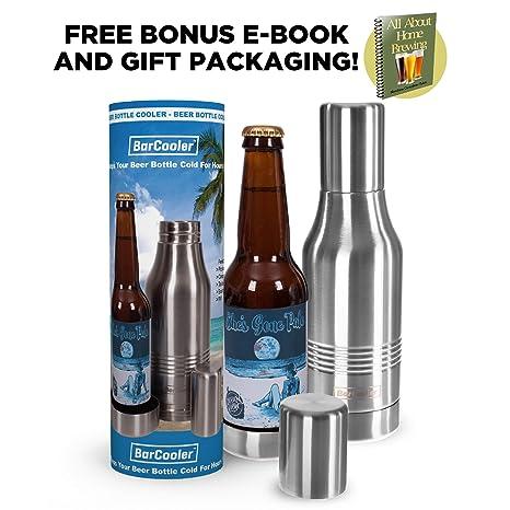 Beer Bottle Cooler. Double Wall Stainless Steel Beer Holder Keeps Your Beer Colder. Great