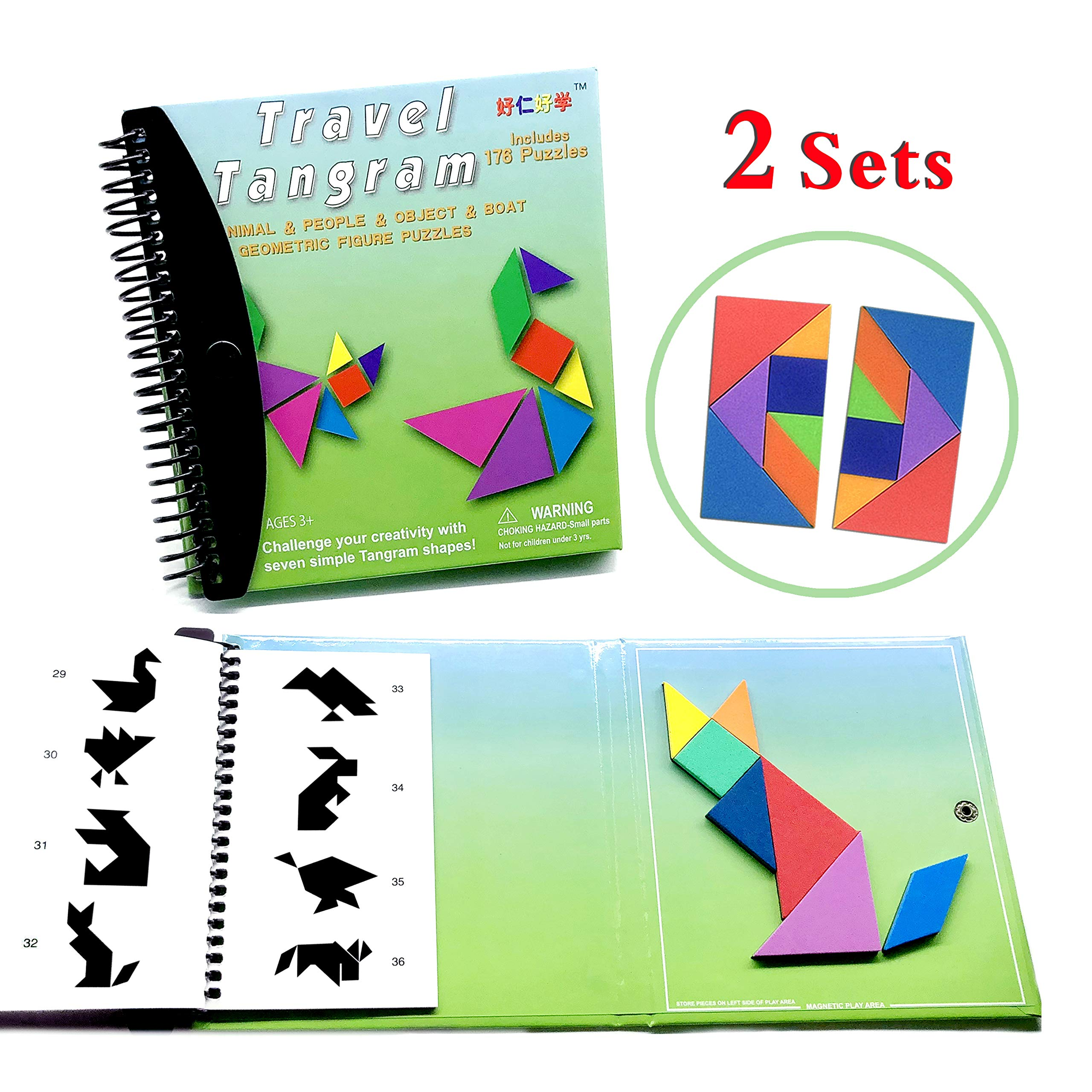 Tangram Game Travel Games 176 Magnetic Puzzle and Questions Build Animals People Objects with 7 Simple Magnetic Colorful Shapes Kid Adult Challenge IQ Educational Book【2 set of Tangrams】 by Wallxin