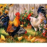 5D Diamond Painting, Full Drill Stitch DIY Diamond Embroidery Rhinestone Painting Cross Stitch Stamped Kits by Number Kits Art Home Wall Decor - Chicken 14x18inch