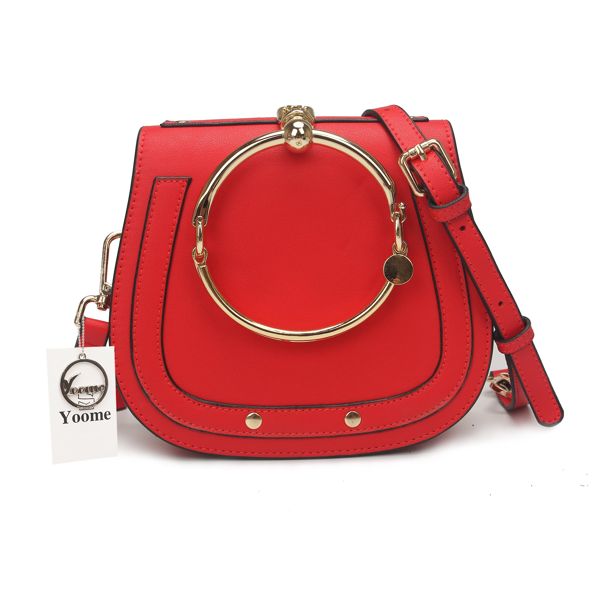 Yoome Elegant Rivets Punk Style Circular Ring Handle Handbags Messenger Crossbody Bags For Girls - Red