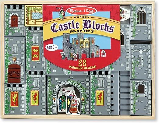 Melissa /& Doug 10979 Wooden Castle and Kingdom Play Set 32 Blocks