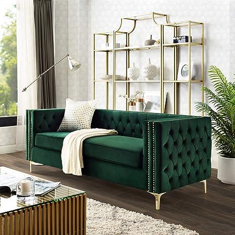 Custom Tufted Green Velvet Sofa with Brass Base - Mid-Century Modern Sofas  & Sectionals - Dering Hall