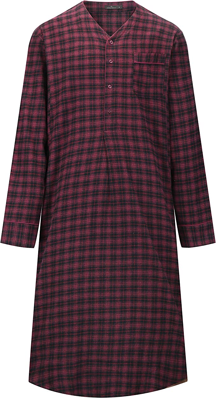 Mens Night Shirt Nightshirt Pure100/% Cotton Flannel Warm stripes and checks