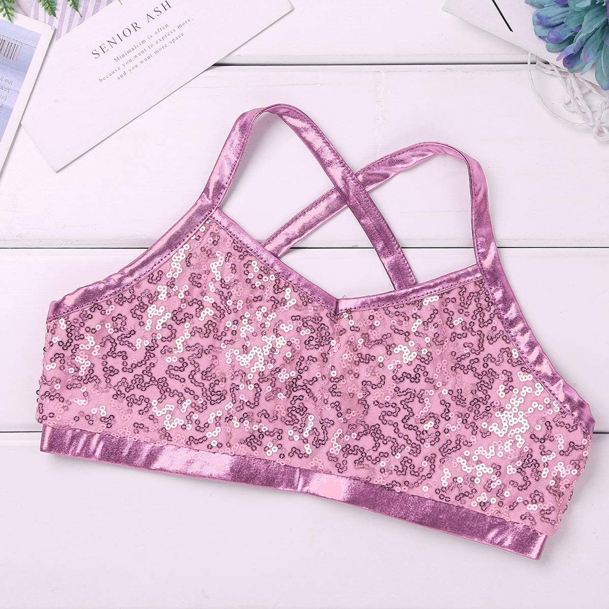 dPois 2PCS Kids Girls Ballet Dance Sports Workout Outfits Straps Shiny Sequins Tank Top with Shorts Set for Gymnastics Dancing or Swimming
