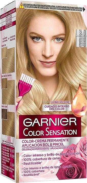 Garnier Color Sensation - Tinte Permanente Rubio Luminoso 8.0, disponible en más de 20 tonos