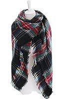 DEARCASE Women's Tassels Soft Plaid Tartan Scarf Winter Large Blanket Wrap Shawl