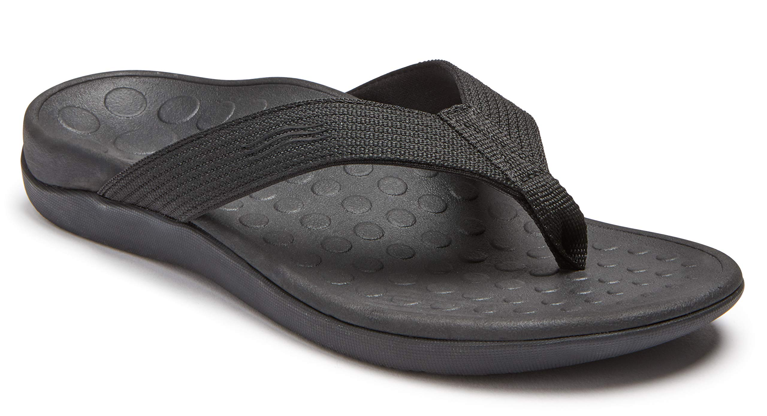 Vionic Unisex Wave Toe-Post Sandal - Flip-Flop with Concealed Orthotic Arch Support Black/Black Men's 8 M US/Women's 9 M US