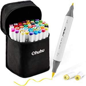 Ohuhuhu-markeerstiften met 48 kleurige kwasten en fijne punt, schetsmarker voor kinderen, kunstenaars, markers voor het kleuren en illustreren van volwassenen, bonus 1 mixer 48 kleuren