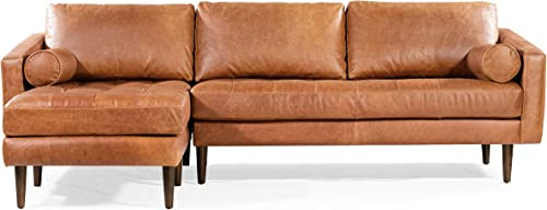 POLY BARK Napa Left-Facing Sectional Leather Sofa in Cognac Tan