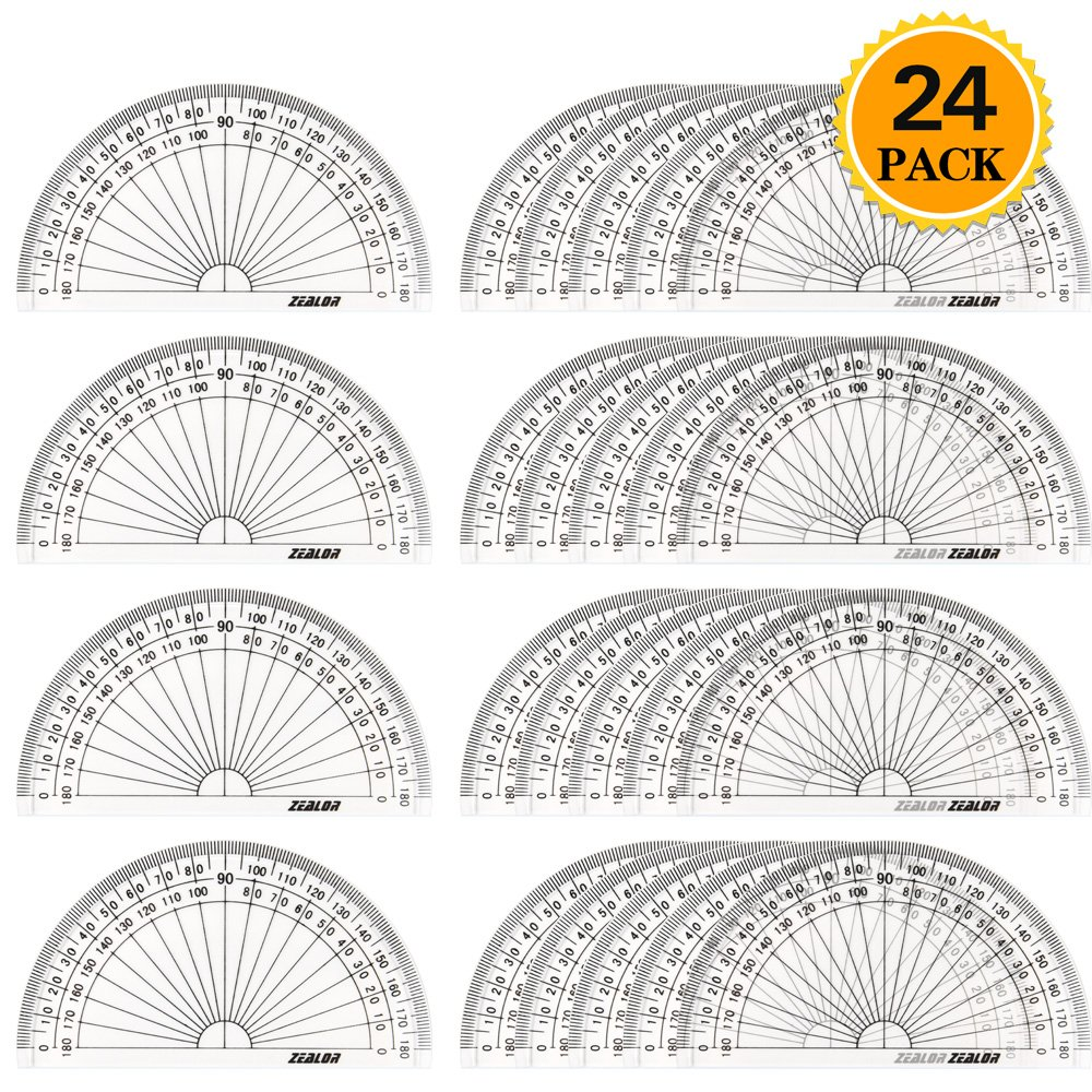 Zealor 24 Pack Plastic Protractors Clear Math Protractor 180 Degrees (6 Inch)