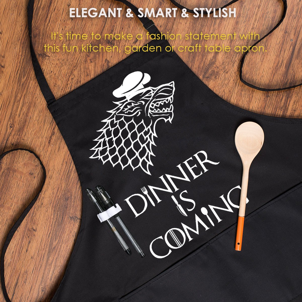 Grill Aprons Kitchen Chef Bib - Famgem Dinner is Coming Professional for BBQ, Baking, Cooking for Men Women / 100% Cotton, Adjustable 3 Pockets, Black by Famgem (Image #5)