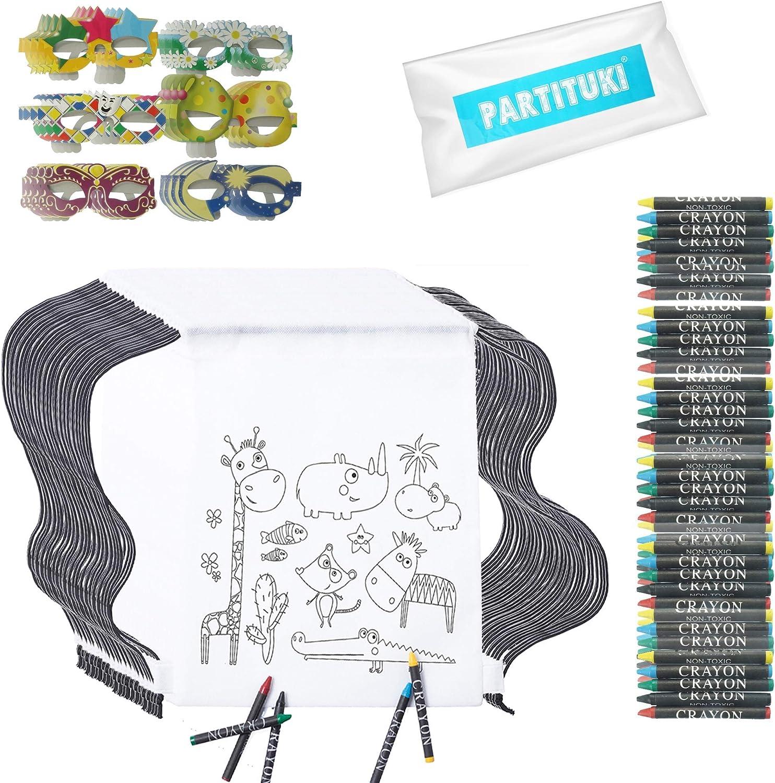 Partituki Detalles Cumpleaños Infantiles. 24 Mochilas de Colorear, 24 Sets de 5 Ceras de Colores y 24 Máscaras. Ideal para Regalos de Fiestas de Cumpleaños y Escolares