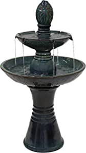 Sunnydaze Double Tier Outdoor Ceramic Fountain with LED Lights - Outside Decorative Water Feature for Garden, Patio, Backyard, Lawn, Porch and Balcony - 38-Inch