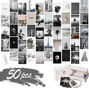 KOSKIMER Black White Aesthetic Photo Collage Kit, 50 Set 4x6 Inch Wall Collage Kit Aesthetic Pictures, Bedroom Decor for Teen Girls, VSCO Posters for Dorm Room Decor, Aesthetic Collage Kit