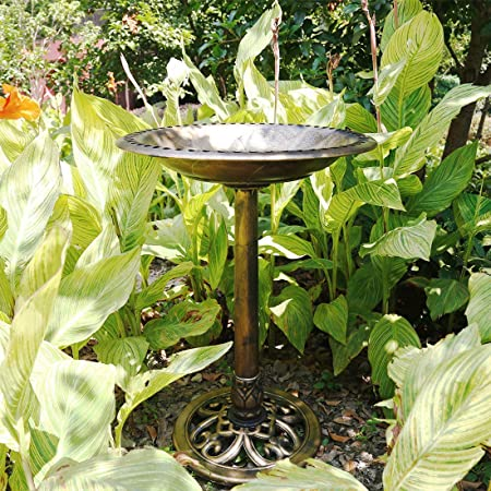 front facing vivohome polyresin antique solar birdbath fountain