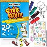 "Shrink Krafts Art Crafts Set - 20 Clear Shrink Paper ( Large 8"" x 10""), 10 Keychains, 36 traceable Images, and 4…"
