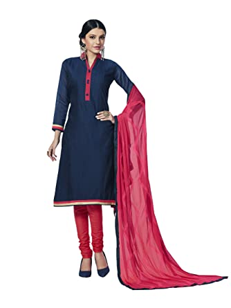 c9a1baaa22 Touch Trends Navy Blue Embroidered Dress Material | Designer Salwar Kameez  | Free Size Unstitched Dress