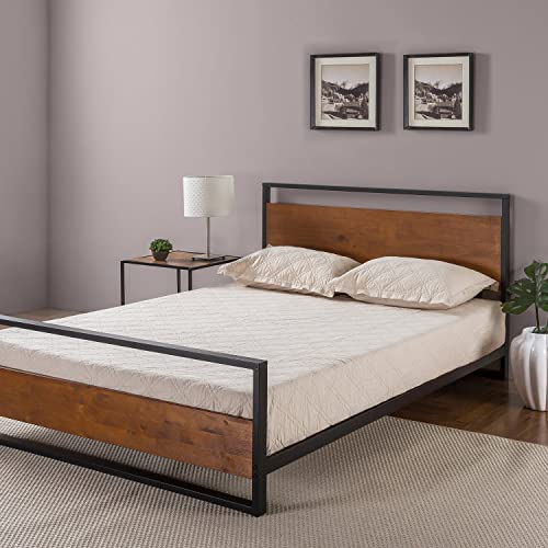 Zinus Suzanne Metal and Wood Platform Bed with Headboard and Footboard