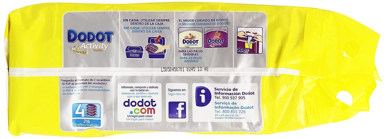Dodot Activity - Toallitas, 4 paquetes de 54 unidades, 216 toallitas: Amazon.es: Alimentación y bebidas