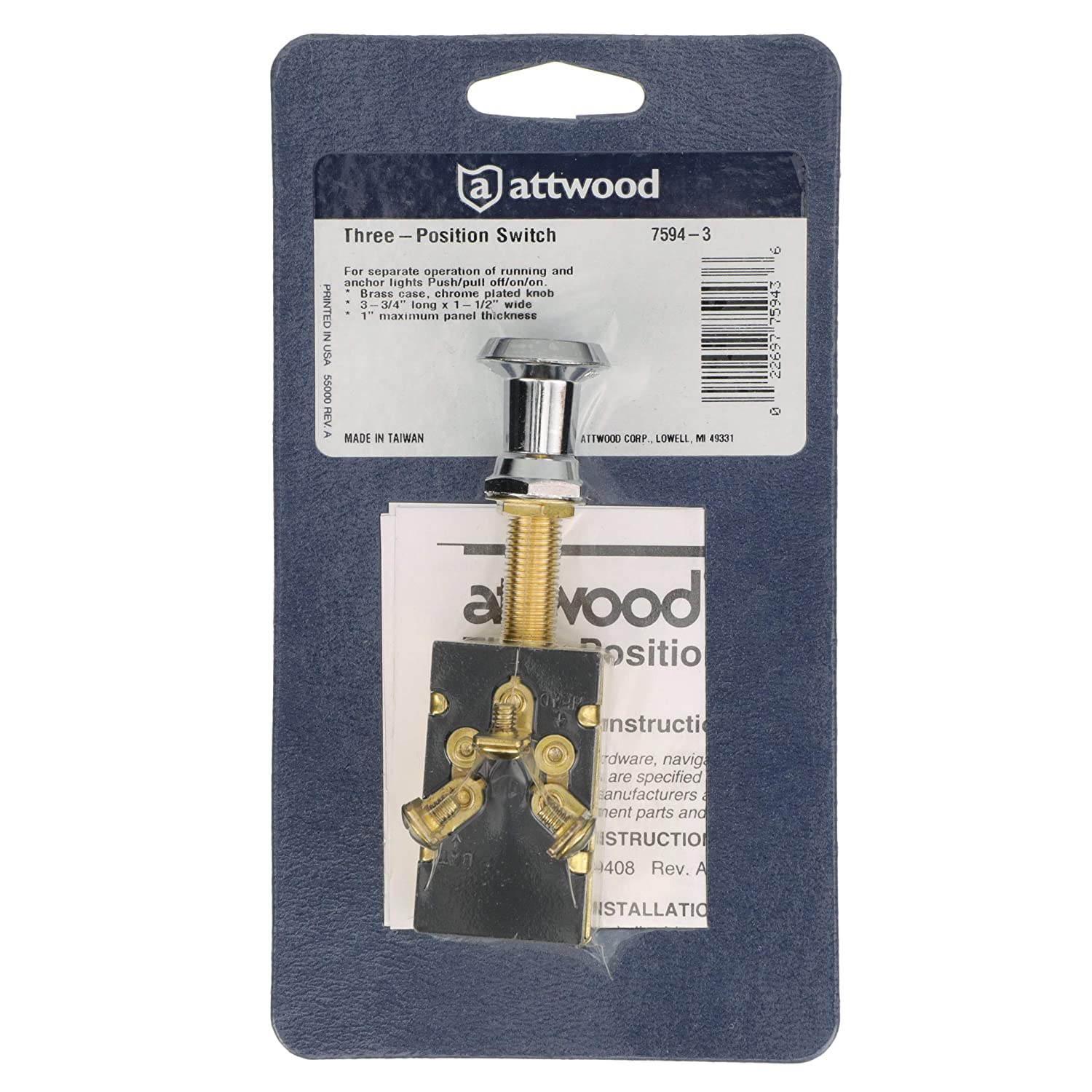 ATTWOOD MARINE 7594-3 ATTWOOD PUSH//PULL SWITCH THREE POSITION OFF//ON//ON