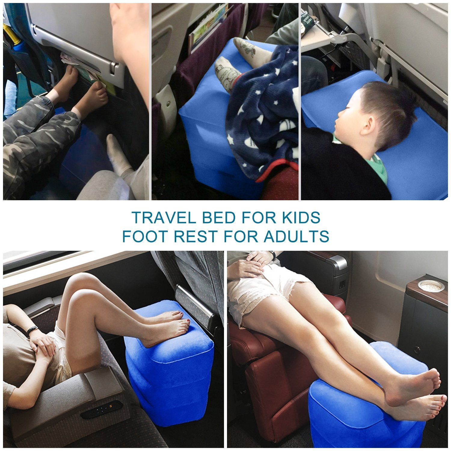 Airplane Travel Bed for Kids, Height-Adjustable Inflatable Travel Foot Rest. Perfect as Travel Accessories Gift, Car Seat Footrest, Plane Leg Rest Pillow, Air Travel Bed Box for Kid.