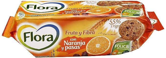 Flora - Galletas Fruta-Fibra Naranja, 125 g