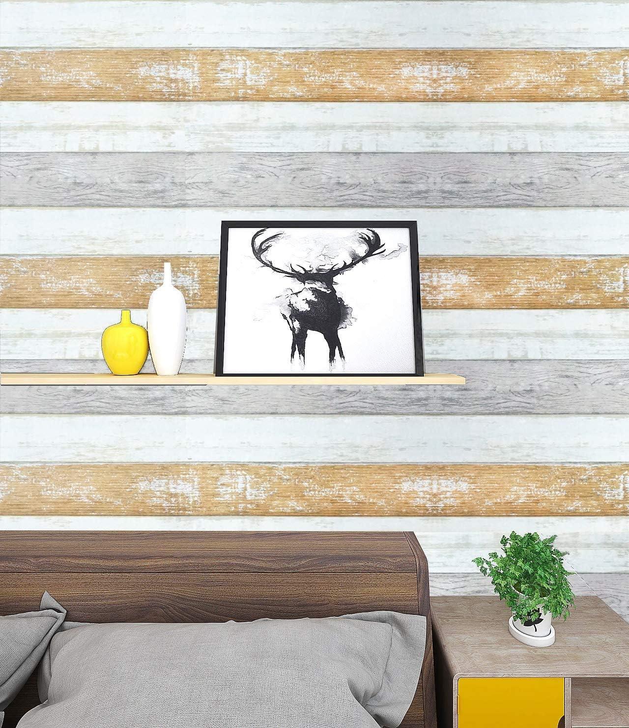"CiCiwind Wood Peel and Stick Wallpaper Wood Wallpaper yellow Wood Self Adhesive Film Roll 78.7""x17.7"