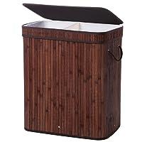 SONGMICS 100L (62,5 x 52 x 32 cm) Wäschekorb Bambus Faltbar Wäschebox mit 2 Fächern Wäschetonne mit Herausnehmbaren Wäschesack