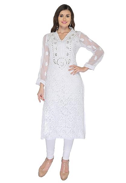 f168b79f5 Ada Women s Georgette Chikankari Handmade Work Kurta A133232 (White ...