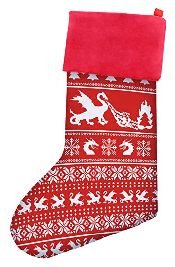 thiswear funny christmas stockings christmas dragon gag gift ugly christmas sweater themed pattern christmas stockings for - Funny Christmas Stockings