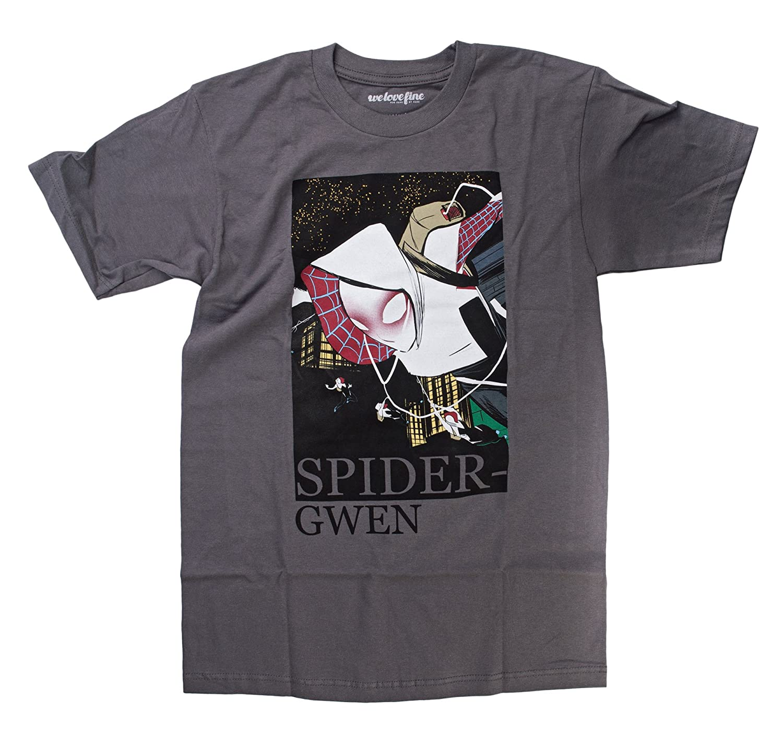 Spider-Gwen Shredz Mens Charcoal Grey T-Shirt