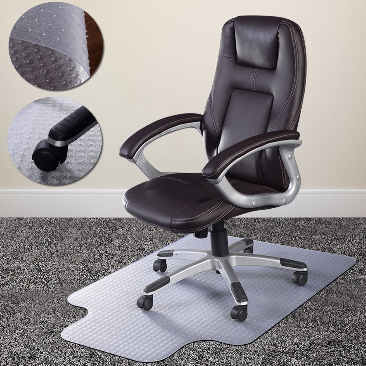 PVC Chair Mats, 36''X 48''Carpet Chair Mat with Lip,Easy Glide Hard Floor Chair Mat,Office Casters Chair Mat,Protect Expensive Carpets,Wooden or Tiled Floors From Scraching for Home & Office