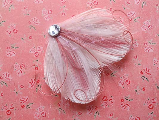 Oh Lucy Handmade DREAM Peacock Feather Hair Clip, Fascinator with Pink Veil in Ivory, Light Pink, Dusty Rose, and Champagne