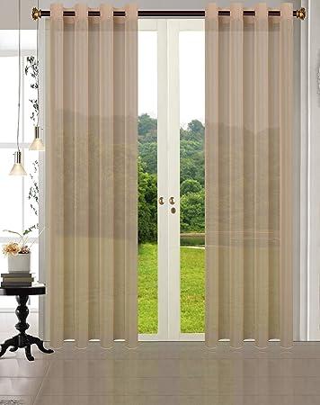 Primavera -20332CN- 2er-Pack Sand Vorhang Transparent Gardinen Set  Wohnzimmer Voile Vorhang Ösenvorhang HxB 245x140 cm mit Bleibandabschluß  Sand