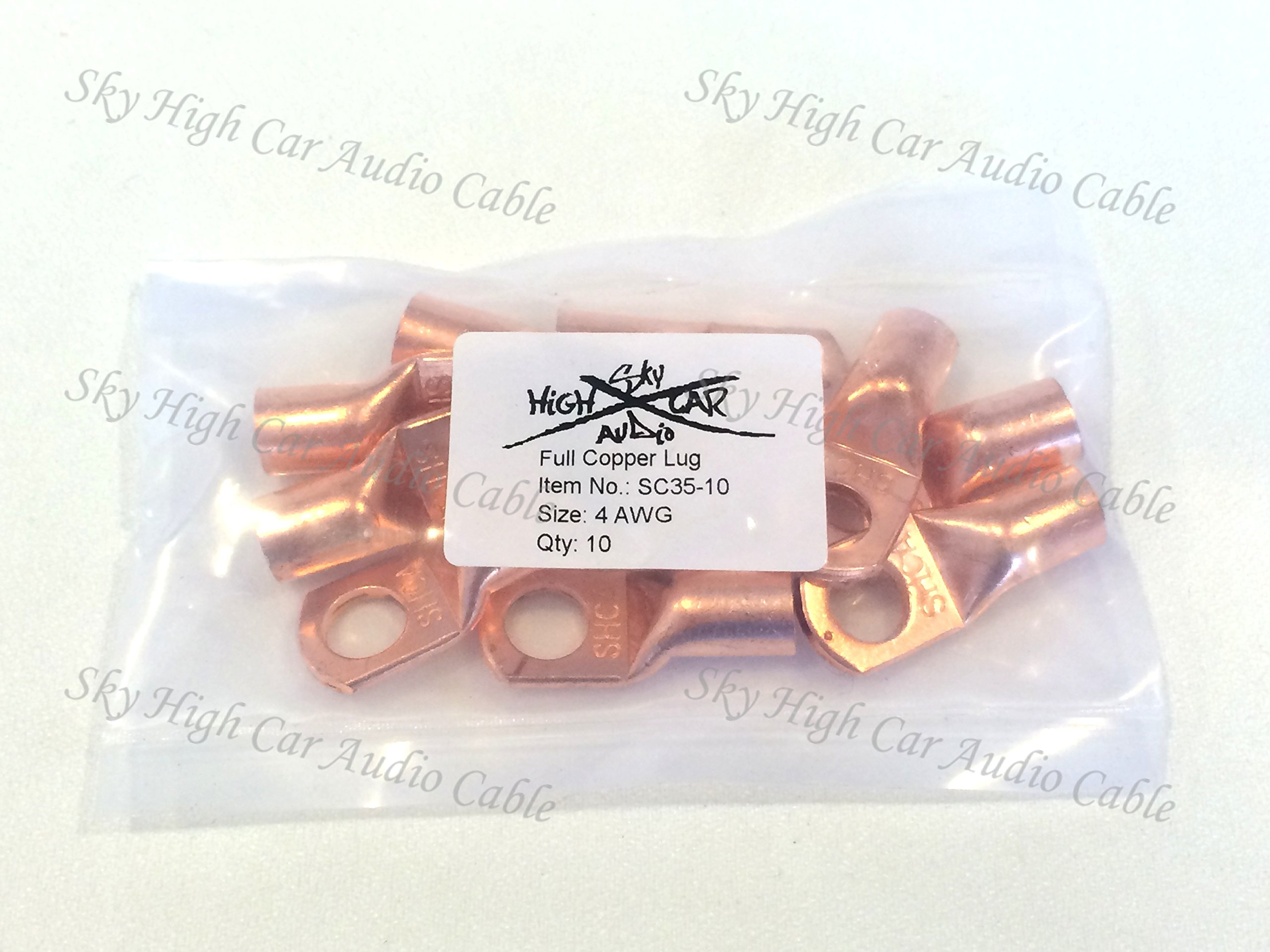 (10) 4 Gauge Copper Ring Terminals 3/8''