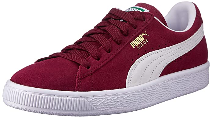 Puma Suede Schuhe Erwachsene Damen Herren rot (Cabernet) m weißem Streifen