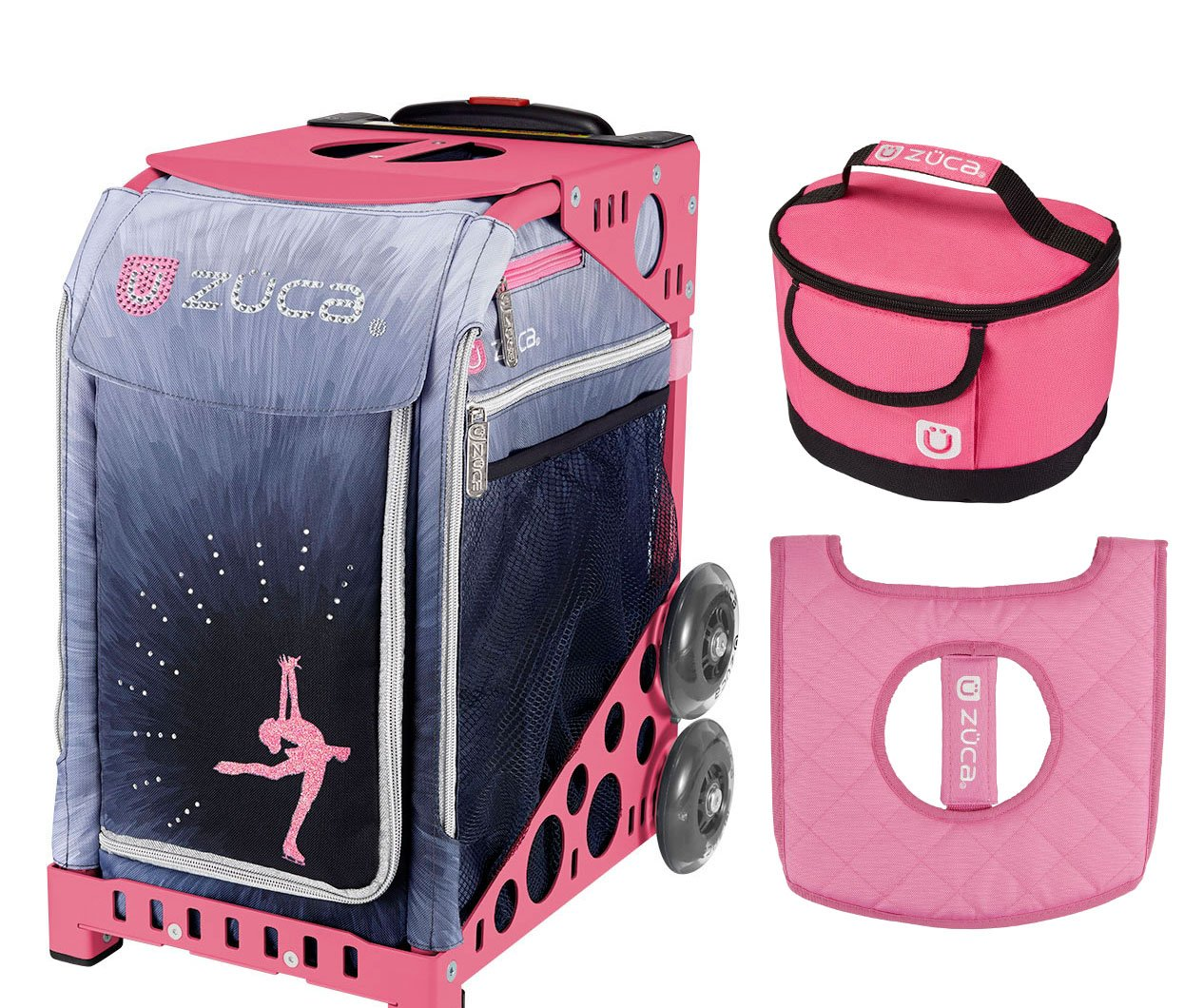 Zuca Sport Bag - Ice Dreamz Lux with Gift Lunchbox and Seat Cover (Pink Frame) by ZUCA
