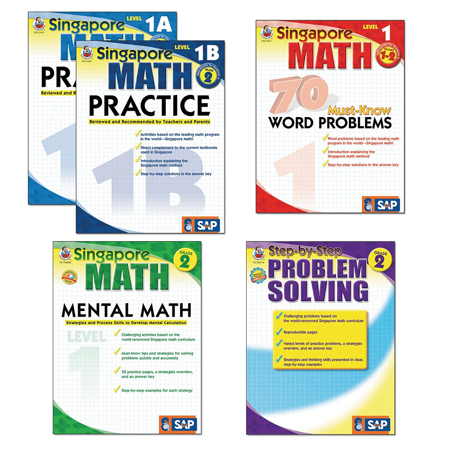 CarsonDellosa FS704177 Singapore Math Bundle, Grades 12, Set of 5, Grade  7 to 1 (Pack of 5)