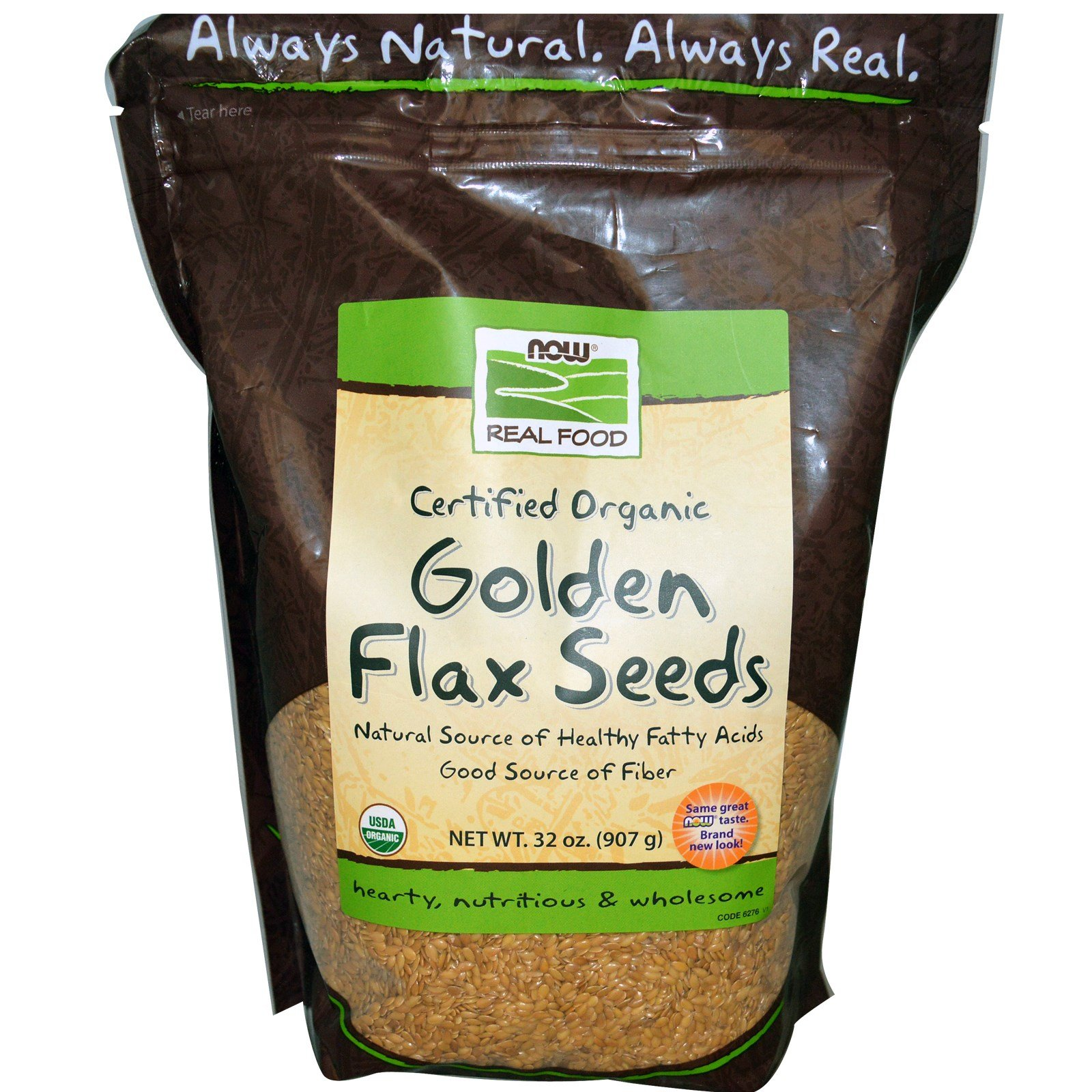 Now Foods Golden Flax Seeds Organic, 2 lb (Pack of 6) by NOW Foods