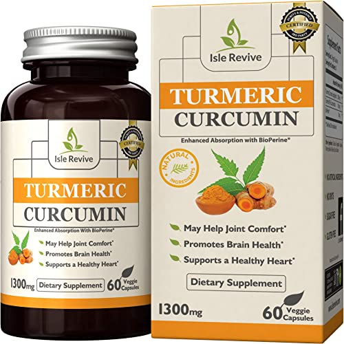 Turmeric Curcumin Capsules with BioPerine 5mg, Superior Absorption, 95 Curcuminoids, Supplement for Arthritis and Inflammation, Natural Joint Pain Relief 60 Capsules, 30 Day Supply
