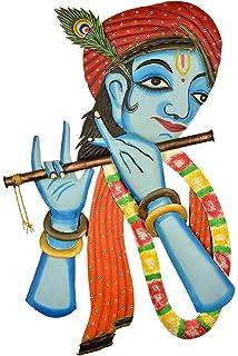 42814f18290 Karigaari India Wrought Iron Beautiful Krishna Playing its Basuri Wall  Hanging Showpiece (Blue   Brown