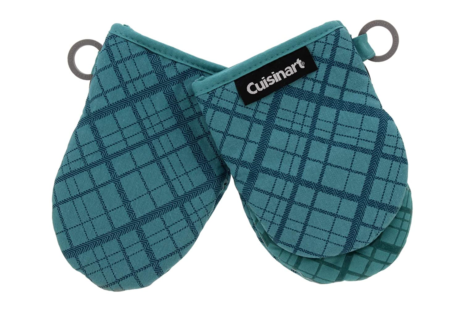 "Cuisinart Silicone Mini Oven Mitts, 2 Pack-Little Oven Gloves for Cooking-Heat Resistant, Non-Slip, Hanging Loop, 5.5"" x 7.5""-Ideal for Handling Hot Kitchen/Bakeware Items- Crosshatch Bristol Blue"