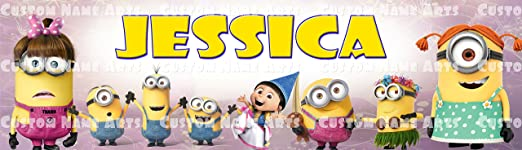 Personalized//Customized Girl Minions Name Poster Wall Art Decoration Banner