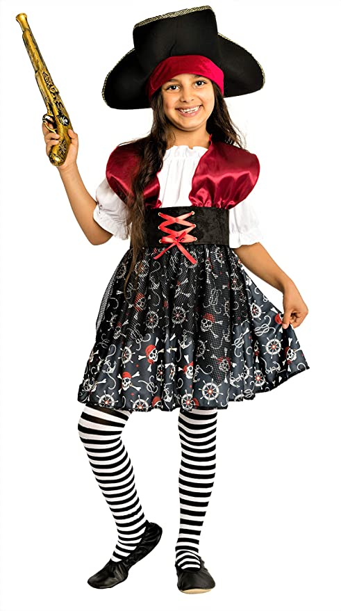 02d5b1755601 Costume da Pirata Bambina Rosso/Nero/Bianco - Travestimento di Carnevale  Ragazza (7