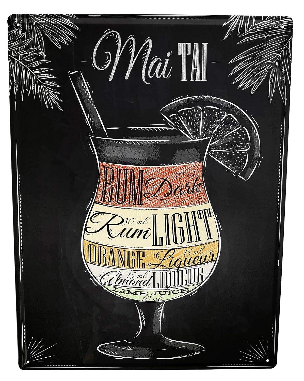Cartel Letrero de Chapa XXL Motivo Retro May Tai coctel ...