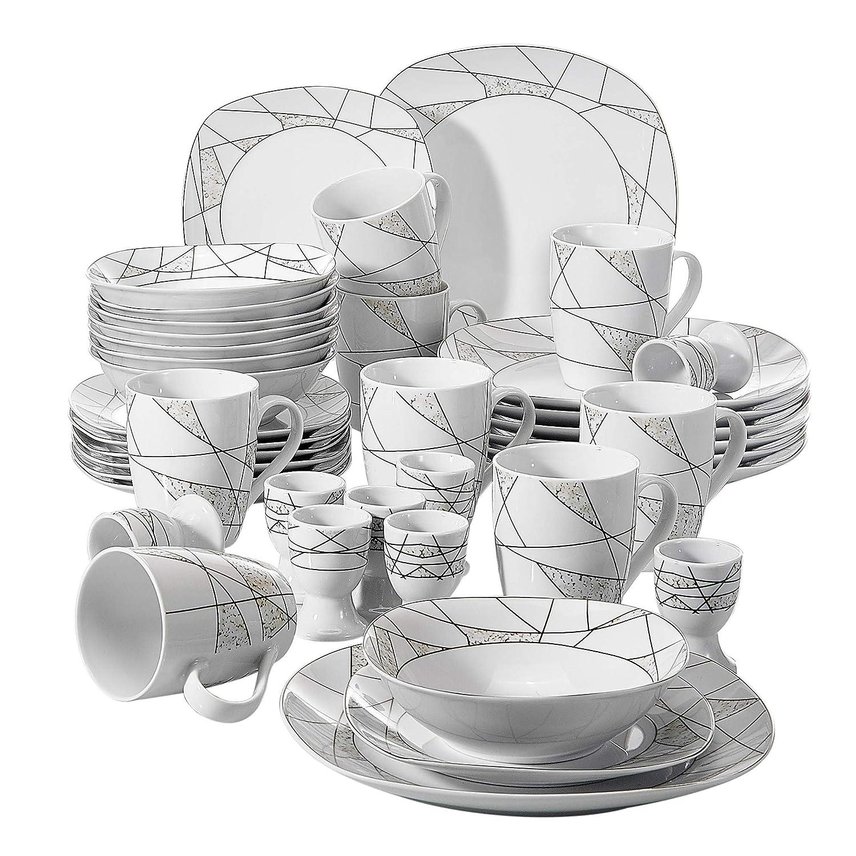 6 Platos Hondos y 6 Platos de Postre para 6 Personas VEWEET Serena Juegos de Vajillas 18 Piezas de Porcelana con 6 Platos