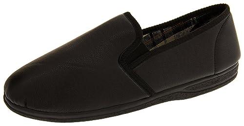 Piri Piri Hombre Negro Zapatillas De Cuero De Imitación EU 47: Amazon.es: Zapatos y complementos